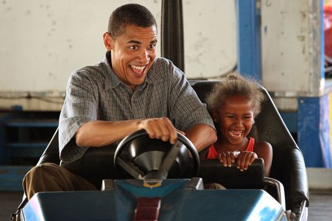 <p>Playing bumper cars with Sasha in Des Moines, Iowa in 2007</p>