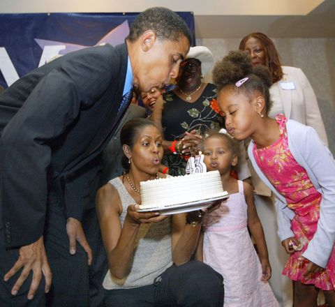 <p>Celebrating his 43rd birthday in Illinois in 2004 </p>