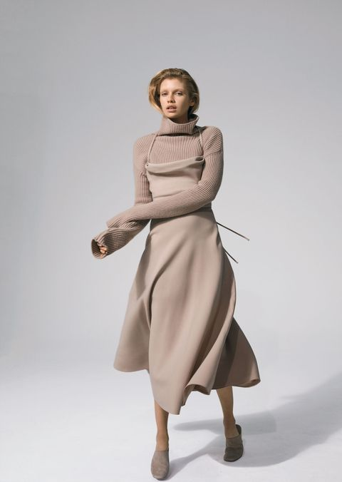 <p><strong>Valentino</strong> dress, $3,800; and sweater, $1,750, 212-355-5811. <strong>The Row</strong> shoes, $895, 310-853-1900. </p>