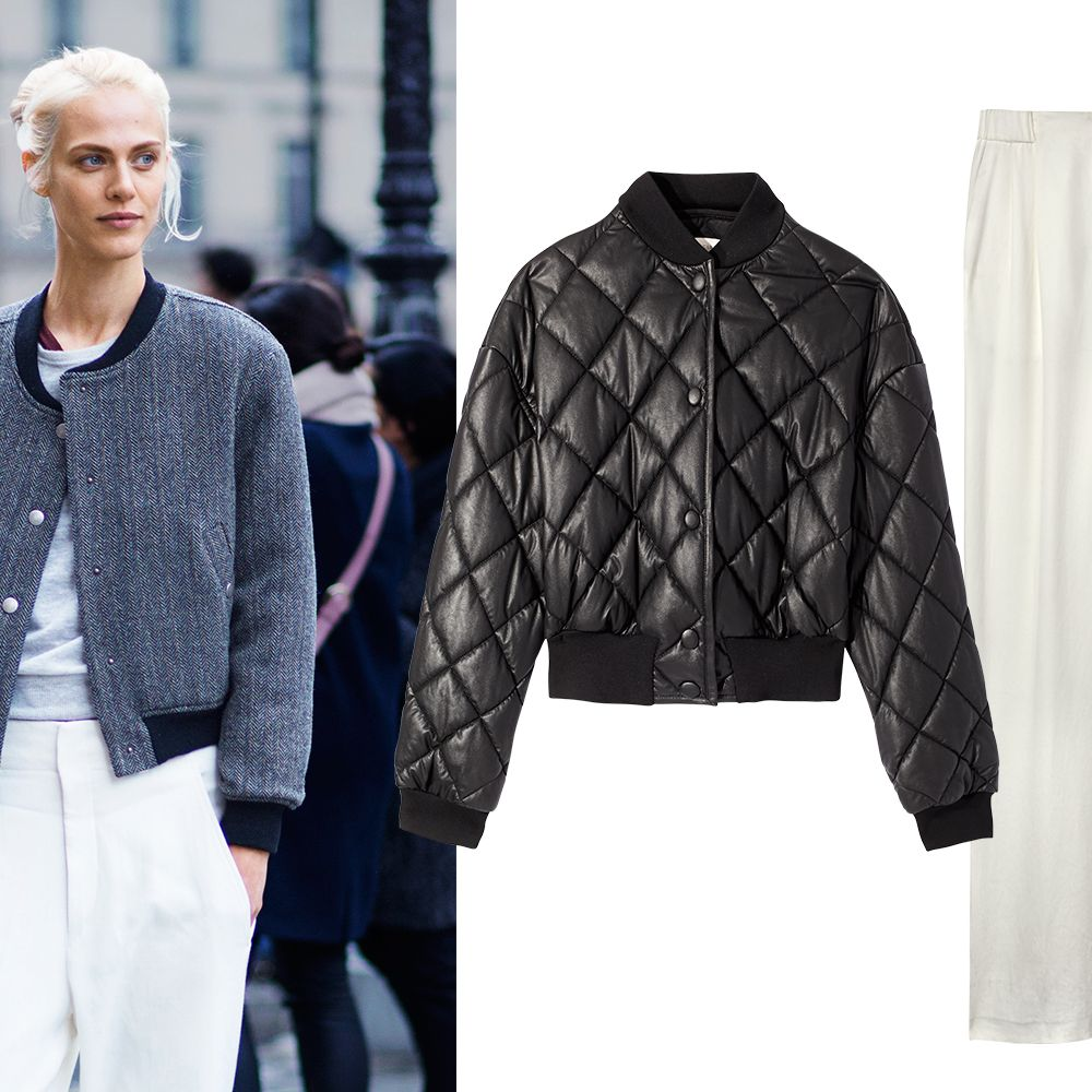 <p>Contrast elegant trousers with sporty elements like a bomber jacket, elevating street fashion to new heights. It's a look that has staying power, whatever the season.</p><p><strong>Stella McCartney</strong> jacket, $1,240, 212-255-1556&#x3B; <strong>DKNY</strong> pants, $315, 646-613-1100.</p>