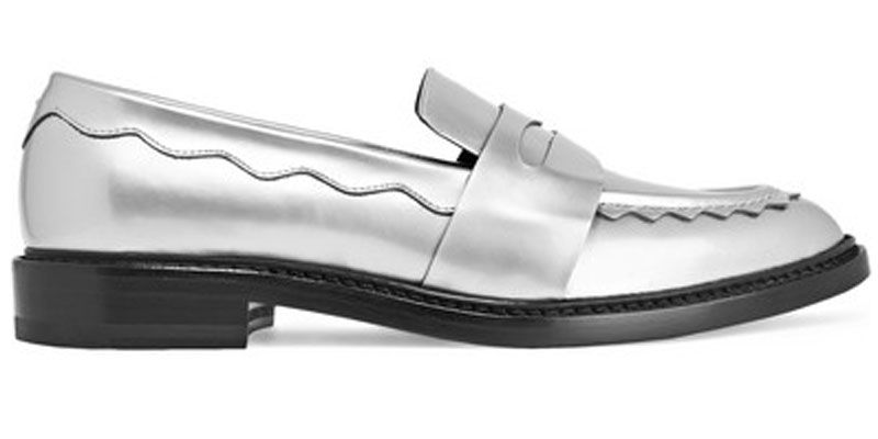 "<p><em>Christopher Kane shoes, $595, <a href=""https://www.net-a-porter.com/us/en/product/732722/christopher_kane/scalloped-metallic-leather-loafers"" target=""_blank"">net-a-porter.com</a>.</em></p>"