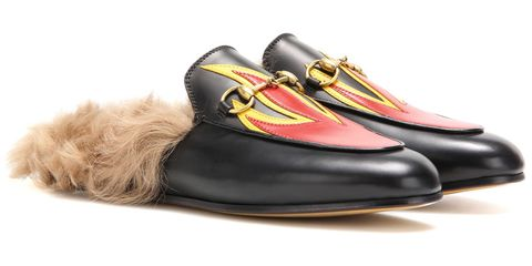 "<p><em>Gucci shoes, $995, <a href=""http://www.mytheresa.com/en-us/princetown-fur-lined-leather-slippers-638400.html?catref=category#&gid=1&pid=1"" target=""_blank"">mytheresa.com</a>.</em></p>"