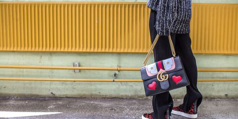 Style, Asphalt, Street fashion, Pattern, Carmine, Concrete, Tar, Rolling, Ankle, Shoulder bag,