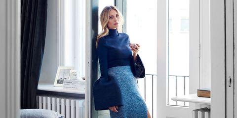 Sleeve, Shoulder, Interior design, Curtain, Dress, Electric blue, Cobalt blue, Window treatment, Waist, Blond,