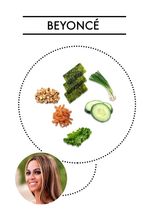 "<p><strong>Ingredients:</strong> Kale, cucumber, carrots, nori sheets, cilantro basil scallions, toasted almonds</p><p>Back when Beyoncé was doing the <a href=""http://greatideas.people.com/2013/12/11/beyonce-jayz-22-days-vegan-kale-salad-recipe/"" target=""_blank"">22 Days Vegan</a> plan, this kale and seaweed dish from Café Gratitude was one of her go-tos. For dressing, she had a mix of tahini, lemon, olive oil, garlic, and sesame oil.</p>"