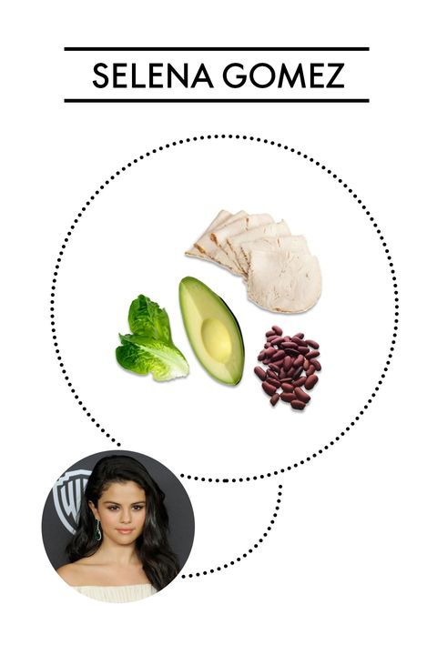 "<p><strong>Ingredients: </strong>Turkey, avocado, beans, over a bed of greens</p><p>Selena's longtime trainer Amy Rosoff Davis <a href=""http://www.cosmopolitan.com/health-fitness/a58235/selena-gomez-trainer-amy-rosoff-davis-diet-fitness-tips/"" target=""_blank"">revealed</a> the singer's ""power salad"" includes all of the above with a homemade dressing of red wine vinegar, olive oil, dijon mustard, and lemon juice.</p>"