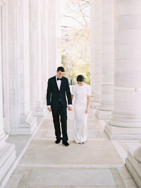 <p>The San Jose-based pair (who both serve as directors of the Bay to Bay Volleyball Club) wanted to incorporate California's effortless feel into their East Coast wedding. The result? A laid-back yet black-tie affair in the nation's capitol.</p>