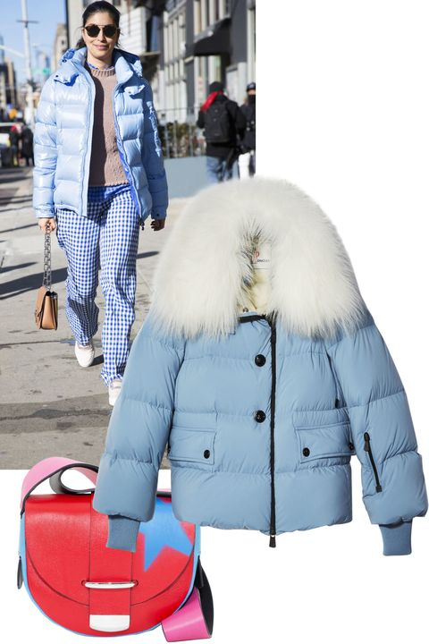 """<p>Oversize, slouchy, and off-the-shoulder, the puffer jacket was the standout coat at shows like Balenciaga, Stella McCartney, and Marques'Almeida. Up the cold-weather staple's fun factor by going for one in a bright color.</p><p><em>Moncler Grenoble jacket, $2,055, <a href=""""http://www.moncler.com/"""" target=""""_blank"""">moncler.com</a>&#x3B; </em><em>Delphine Delafon bag, $1,385, <a href=""""http://www.saksfifthavenue.com/Entry.jsp"""" target=""""_blank"""">saksfifthavenue.com</a>. </em></p>"""