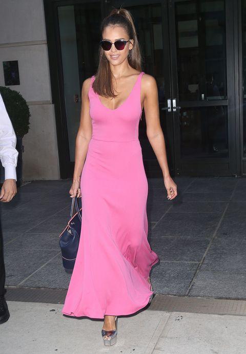 Clothing, Eyewear, Shoulder, Sunglasses, Joint, Magenta, Pink, Dress, Style, Fashion accessory,