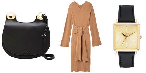 Product, Brown, Yellow, Collar, Sleeve, Textile, Coat, Bag, Watch, Tan,