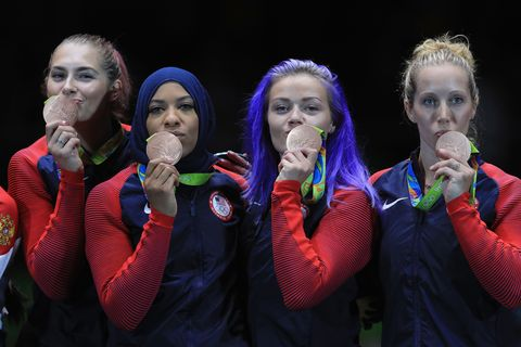 <p><strong>Bronze medal</strong>, women's team sabre fencing.</p>