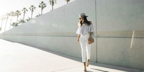 Clothing, Sleeve, Shoulder, Photograph, Joint, Standing, White, Hat, Bag, Style,