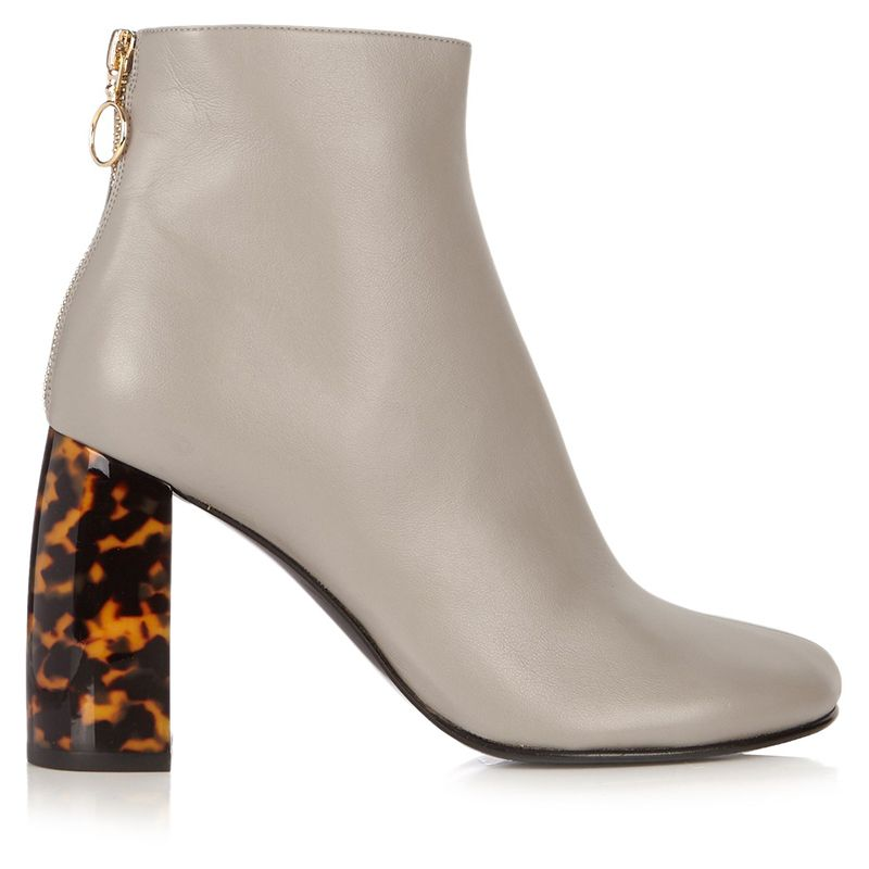 """<p><strong data-redactor-tag=""""strong"""" data-verified=""""redactor"""">Stella McCartney</strong> boots, $665, <a href=""""http://www.matchesfashion.com/us/products/Stella-McCartney-Tortoiseshell-block-heel-faux-leather-ankle-boots-1052378"""" target=""""_blank"""">matchesfashion.com</a>.</p>"""