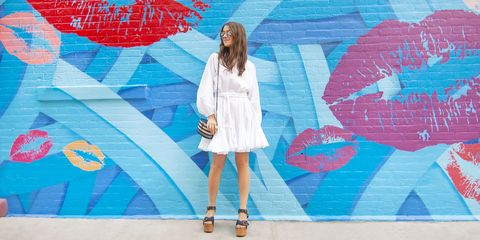 "<p>Fashioned from 100% cotton, the dress is beautifully breezy and looks chic with wedges <i>à la</i> Amanda, or flats. </p><p><strong><em>Rhode Resort ""Ella"" dress in white, $365, <a href=""https://shop.harpersbazaar.com/designers/r/rhode-resort/"" target=""_blank"">shopBAZAAR.com</a>. </em></strong><span class=""redactor-invisible-space""><br></span></p><p><em><em><i><em><i>Image: </i></em>Executive Accessories Editor, Amanda Alagem</i></em><br></em></p>"
