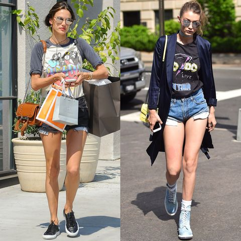 <p>Alessandra Ambrosio and Gigi Hadid&nbsp;both let their ACDC flags fly.</p>
