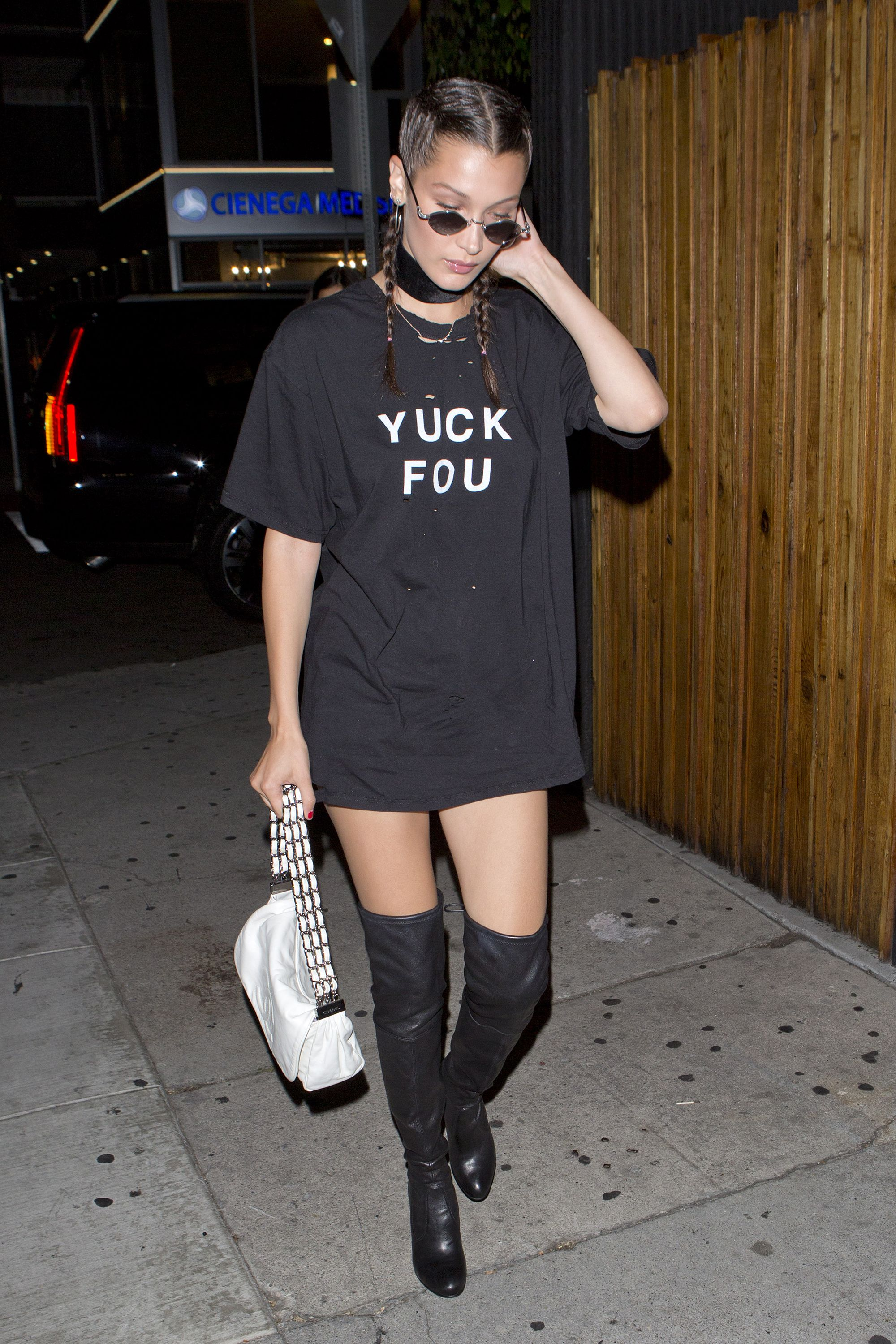 <p>Bella Hadid shows her edge in black tees that send a message.</p>