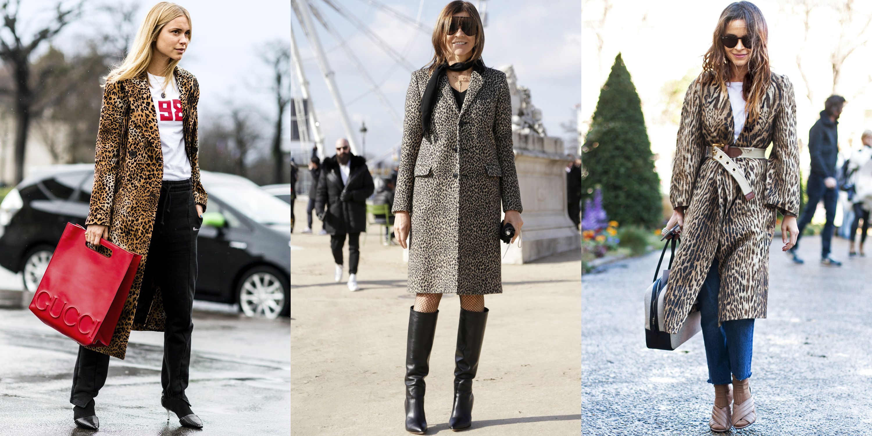 """<p>Outerwear with feline motifs is a total """"cat-ch"""" for fall. Channel street-style stars Pernille Teisbaek and Miroslava Duma and spring for an animal-print coat that makes any outfit's perfect finishing touch. Add red accessories and sleek boots for good measure.</p>"""