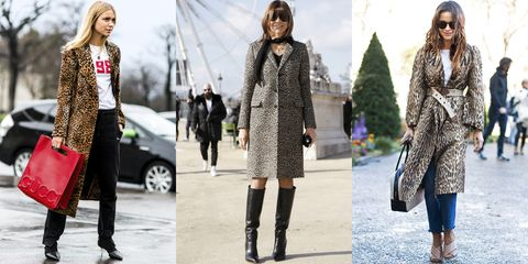 "<p>Outerwear with feline motifs is a total ""cat-ch"" for fall. Channel street-style stars Pernille Teisbaek and Miroslava Duma and spring for an animal-print coat that makes any outfit's perfect finishing touch. Add red accessories and sleek boots for good measure.</p>"