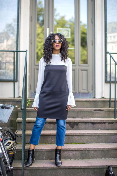 Clothing, Blue, Outerwear, Stairs, Boot, Style, Street fashion, Denim, Bag, Knee,