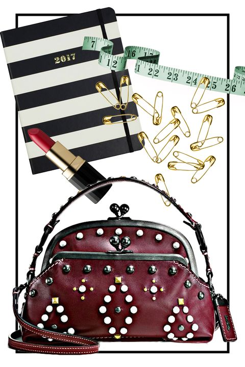 """<p>Fashion meets function with this studded cross-body handbag. It's the perfect size for stashing&nbsp;a tape measure, your phone, business cards, and anything else you need—all while leaving your hands free (for fittings, phonically or a little browsing for yourself). <em data-redactor-tag=""""em"""" data-verified=""""redactor""""><em data-redactor-tag=""""em"""">Coach 1941 Western Rivets Satchel, $495,&nbsp;<a rel=""""noskim"""" href=""""http://www.coach.com/coach-designer-handbags-western-rivets-triple-frame-outlaw-satchel-in-glovetanned-leather/56560.html?dwvar_color=BPBOR&amp;CID=D_B_HBZ_11488"""" target=""""_blank"""">coach.com</a></em><span class=""""redactor-invisible-space"""" data-verified=""""redactor"""" data-redactor-tag=""""span"""" data-redactor-class=""""redactor-invisible-space""""></span></em></p>"""
