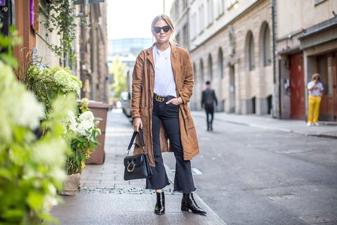 Clothing, Brown, Bag, Textile, Outerwear, Street, Sunglasses, Fashion accessory, Style, Street fashion,