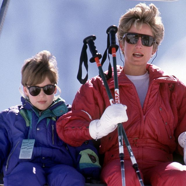 The Princess of Wales with her sons William and Harry on the chair lift during a skiing holiday in Lech, Austria, April 1991.