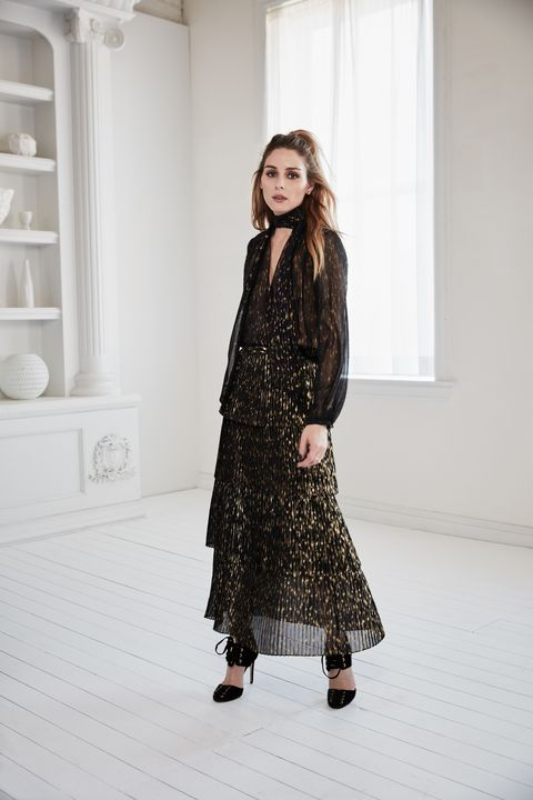 """<p>""""Texture was also key. We loved pairing light, romantic elements like ruffles and lace with edgy leather or menswear-inspired tailored pieces. Materials like chiffon have a lot of movement and add an extra-pretty element to balance the menswear styles.<span class=""""redactor-invisible-space"""">"""" —Olivia Palermo</span></p>"""