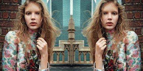 Nose, Lip, Hairstyle, Style, Eyelash, Brown hair, Blond, Pattern, Street fashion, Long hair,
