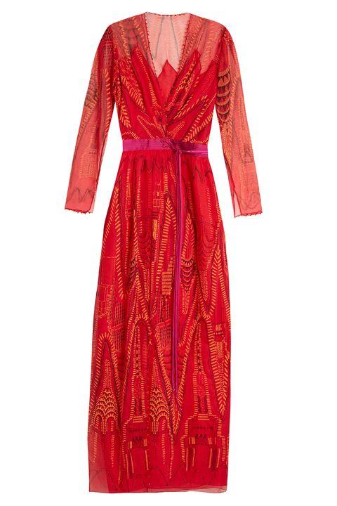 Sleeve, Dress, Textile, Red, Pattern, One-piece garment, Formal wear, Maroon, Orange, Carmine,