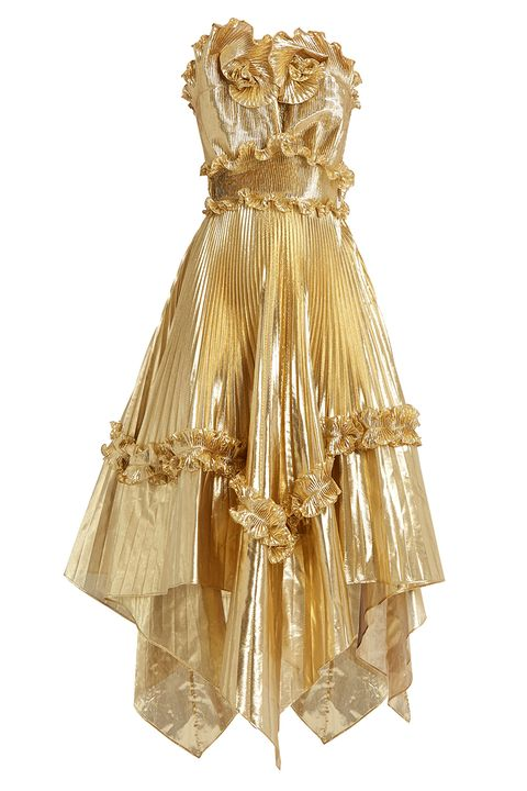 Clothing, Brown, Yellow, Dress, Formal wear, Amber, One-piece garment, Satin, Day dress, Gown,