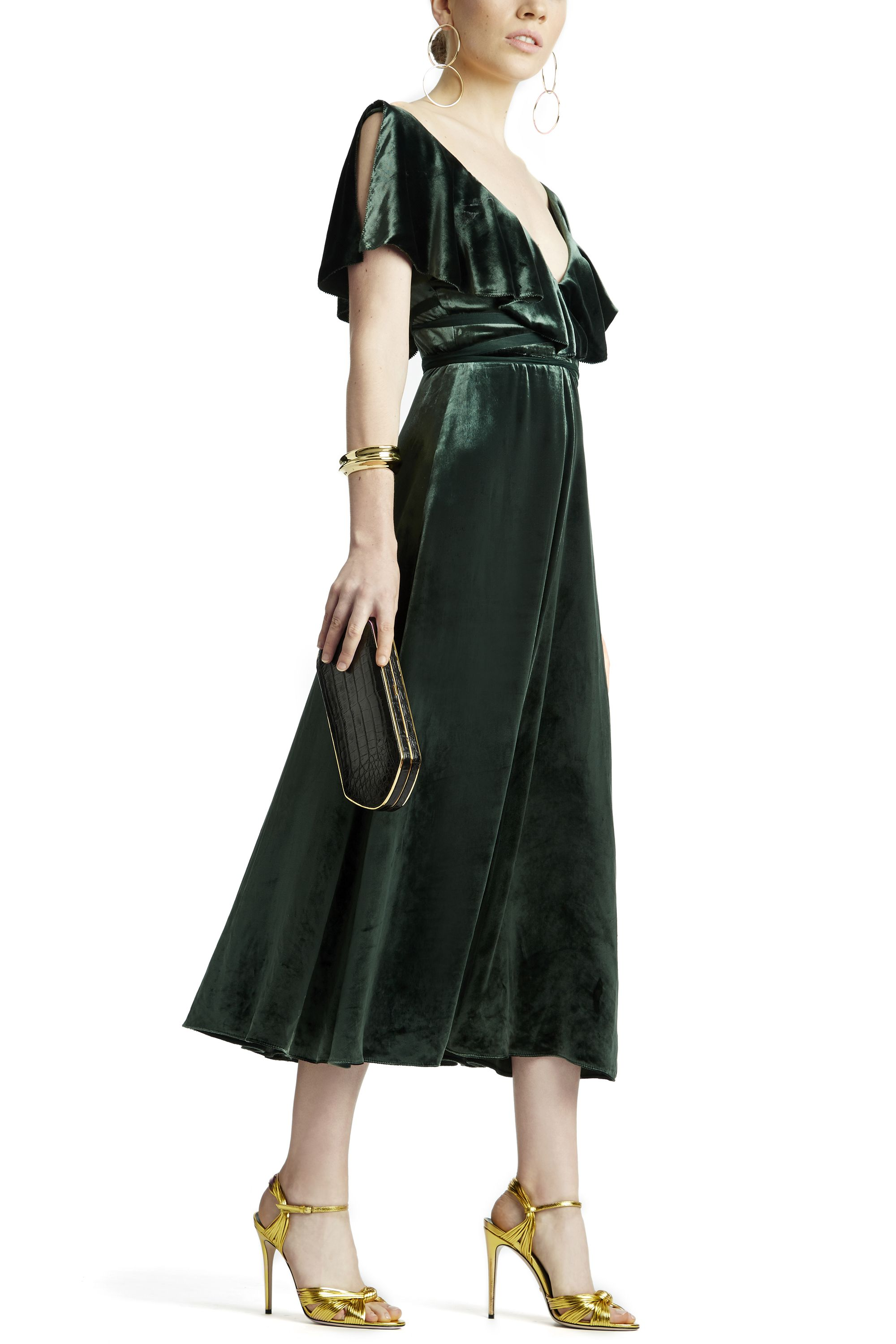 """<p>""""For a classic take on evening-wear embrace the shoulder-grazing silhouette, and just add chic gold accents like a statement earring and standout shoe.""""<span class=""""redactor-invisible-space"""" data-verified=""""redactor"""" data-redactor-tag=""""span"""" data-redactor-class=""""redactor-invisible-space"""">—<span class=""""redactor-invisible-space""""> <strong data-redactor-tag=""""strong"""" data-verified=""""redactor"""">Nicole Fritton, Fashion Market & Accessories Director, on her styling</strong></span></span></p>"""