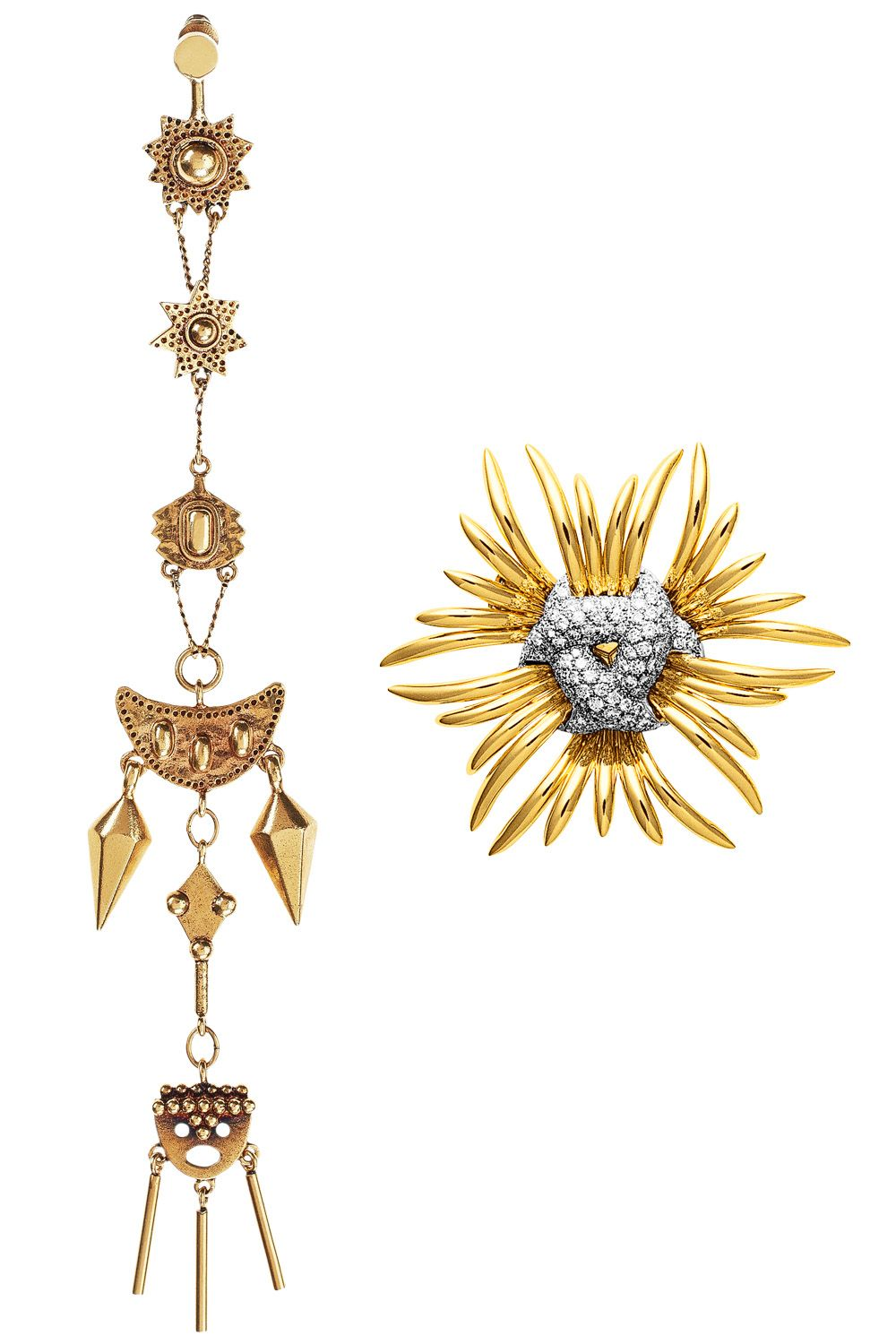"<p>Get noticed in blue with gold jewelry, like a sparkling brooch or earring. <span class=""redactor-invisible-space"" data-verified=""redactor"" data-redactor-tag=""span"" data-redactor-class=""redactor-invisible-space""></span></p><p><em data-redactor-tag=""em"" data-verified=""redactor"">Chloé earring, $570, <a href=""http://www.shopbazaar.com/"" target=""_blank"">shopBAZAAR.com</a>; </em><em data-redactor-tag=""em"" data-verified=""redactor"">Verdura brooch, price upon request, 212-758-3388.</em></p>"