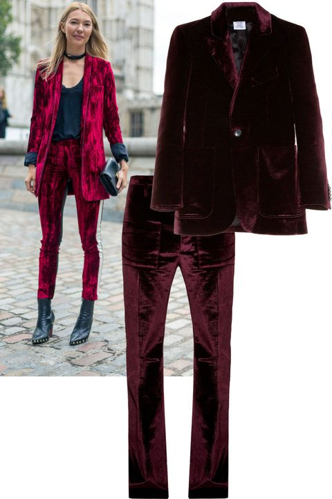"<p>Roberta Bentleler of Avenue 32 takes her velvet suit with a rockstar edge.&nbsp;</p><p><em data-redactor-tag=""em"" data-verified=""redactor"">Vetements jacket, $3,170</em><span class=""redactor-invisible-space"" data-verified=""redactor"" data-redactor-tag=""span"" data-redactor-class=""redactor-invisible-space""><em data-redactor-tag=""em"" data-verified=""redactor"">, and&nbsp;trousers, $1,785</em><span class=""redactor-invisible-space"" data-verified=""redactor"" data-redactor-tag=""span"" data-redactor-class=""redactor-invisible-space""><em data-redactor-tag=""em"" data-verified=""redactor"">, <a href=""http://www.matchesfashion.com/us/products/Vetements-Flared-velvet-trousers-1065812"" target=""_blank"">matchesfashion.com</a>.&nbsp;</em></span></span></p>"