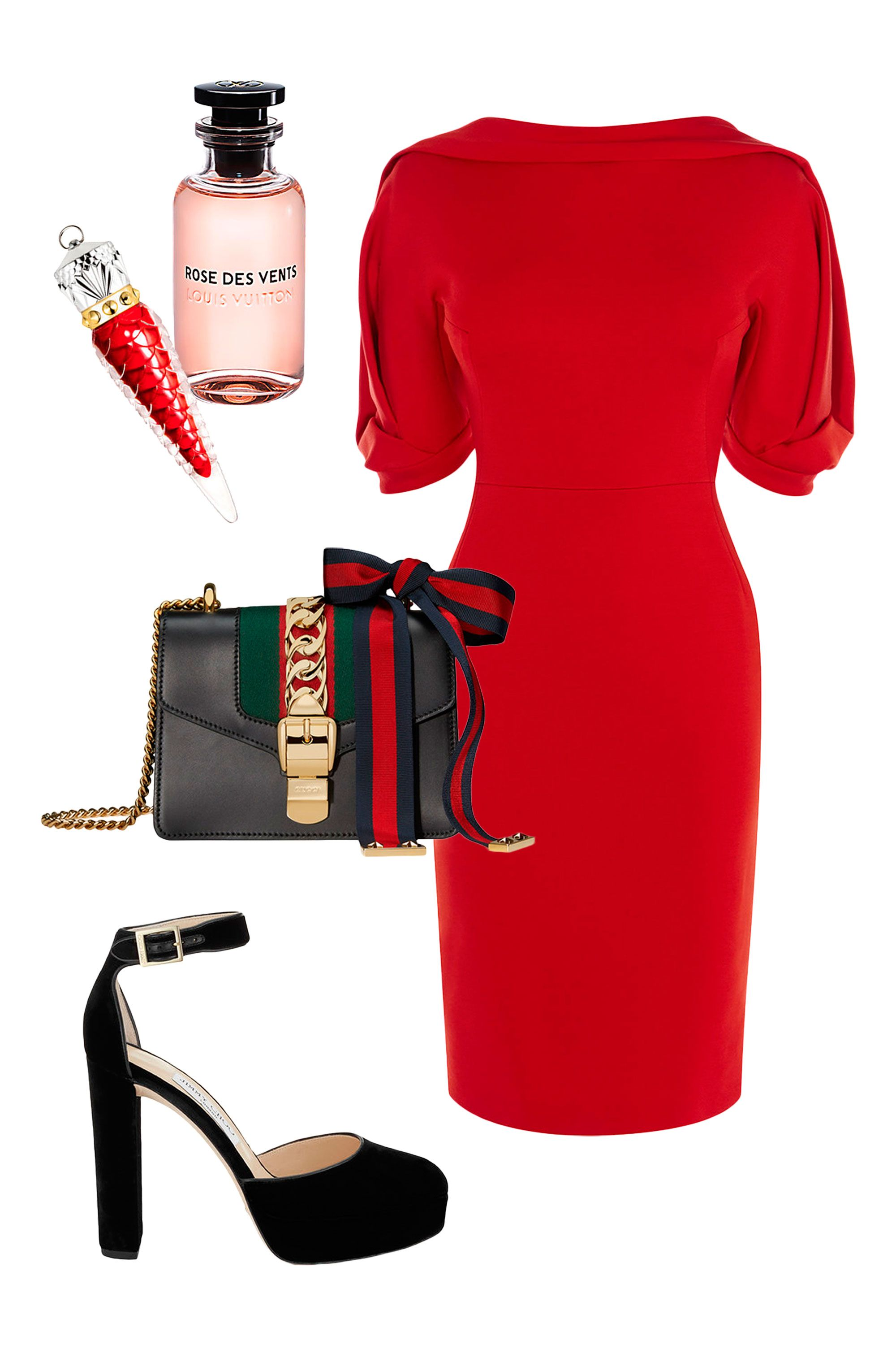 """<p>A body-skimming tailored silhouette with a chic draped neckline and statement sleeves evokes all the glamour of late mid-century supper clubs—made even bolder in a brazen lipstick red.<span id=""""selection-marker-1"""" class=""""redactor-selection-marker"""" data-verified=""""redactor"""" data-redactor-tag=""""span"""" data-redactor-class=""""redactor-selection-marker""""></span><br> </p><p><br> </p><p><em data-redactor-tag=""""em"""">Karen Millen Statement Sleeve Dress, $399, </em><em data-redactor-tag=""""em""""><a href=""""http://www.karenmillen.com/us/womens/new-in/statement-sleeve-dress/016241.html?dwvar_016241_color=94&cgid=new-in&position=14#page=2&start=1"""" target=""""_blank"""">karenmillen.com</a>; <em data-redactor-tag=""""em"""">Jimmy Choo Daphne 120 black velvet platforms, $925, </em><a href=""""http://us.jimmychoo.com/en/women/new-arrivals/daphne-120/black-velvet-platforms-DAPHNE120VEL010003.html?cgid=women-newarrivals#start=1"""" target=""""_blank""""><em data-redactor-tag=""""em"""">jimmychoo.com</em></a><span class=""""redactor-invisible-space"""" data-verified=""""redactor"""" data-redactor-tag=""""span"""" data-redactor-class=""""redactor-invisible-space"""">; <em data-redactor-tag=""""em"""">Gucci Silvie Leather Mini Chain Bag, $1950, <a href=""""https://www.gucci.com/us/en/pr/women/handbags/womens-shoulder-bags/sylvie-leather-mini-chain-bag-p-431666CVLEG8638?position=19&listName=ProductGridComponent&categoryPath=Women/Handbags/Womens-Mini-Bags"""" target=""""_blank"""">gucci.com</a></em><span class=""""redactor-invisible-space"""" data-verified=""""redactor"""" data-redactor-tag=""""span"""" data-redactor-class=""""redactor-invisible-space"""">; <em data-redactor-tag=""""em"""">Christian Louboutin Loubilaque Lip Lacquer in Rouge Louboutin, $85, <a href=""""http://www.neimanmarcus.com/Christian-Louboutin-Loubilaque-Lip-Lacquer-Lips/prod191720427_cat10470734__/p.prod?icid=&searchType=EndecaDrivenCat&rte=%252Fcategory.jsp%253FitemId%253Dcat10470734%2526pageSize%253D30%2526No%253D0%2526refinements%253D&eItemId=prod191720427&cmCat=product&childItemId=NMC23PJ_01"""" target=""""_blank"""">neimanmarcus.com<"""