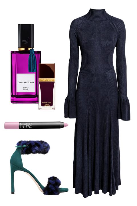 "<p>Long, lithe, sleek, and chic—this body-skimming gown is, somehow, simultaneously dramatic yet also mysterious and understated. Pair it with a purple haze of smoky eyeshadow and a touch of&nbsp;fuzziness&nbsp;on your feet for a bit of levity and flair. </p><p><br> </p><p><em data-redactor-tag=""em"">H&amp;M Ribbed Dress With Flounces, $69.99, <a href=""http://www.hm.com/us/product/53167?article=53167-A"" target=""_blank"">hm.com</a>; The BunnyLove Sandal, $498, <a href=""http://www.stuartweitzman.com/products/bunnylove/blue-and-nero-mink/?DepartmentId=360&amp;DepartmentGroupId=62"" target=""_blank"">stuartweitzman.com</a>; Diana Vreeland Simply Divine Eau de Parfum, $185, <a href=""http://nordstrom.com http://shop.nordstrom.com/s/diana-vreeland-simply-divine-eau-de-parfum/4461869"" target=""_blank"">nordstrom.com</a>; Nars Velvet Matte Lipstick Pencil in Paimpol, $26, <a href=""http://nordstrom.com http://shop.nordstrom.com/s/nars-velvet-matte-lipstick-pencil/2893794"" target=""_blank"">nordstrom.com</a>; Tom Ford Nail Lacquer in African Violet, $36, <a href=""http://www.neimanmarcus.com/TOM-FORD-Nail-Lacquer-Nail-Care/prod179760230_cat10470830__/p.prod?icid=&amp;searchType=EndecaDrivenCat&amp;rte=%252Fcategory.jsp%253FitemId%253Dcat10470830%2526pageSize%253D30%2526No%253D0%2526refinements%253D&amp;eItemId=prod179760230&amp;cmCat=product"" target=""_blank"">neimanmarcus.com</a></em><br></p>"