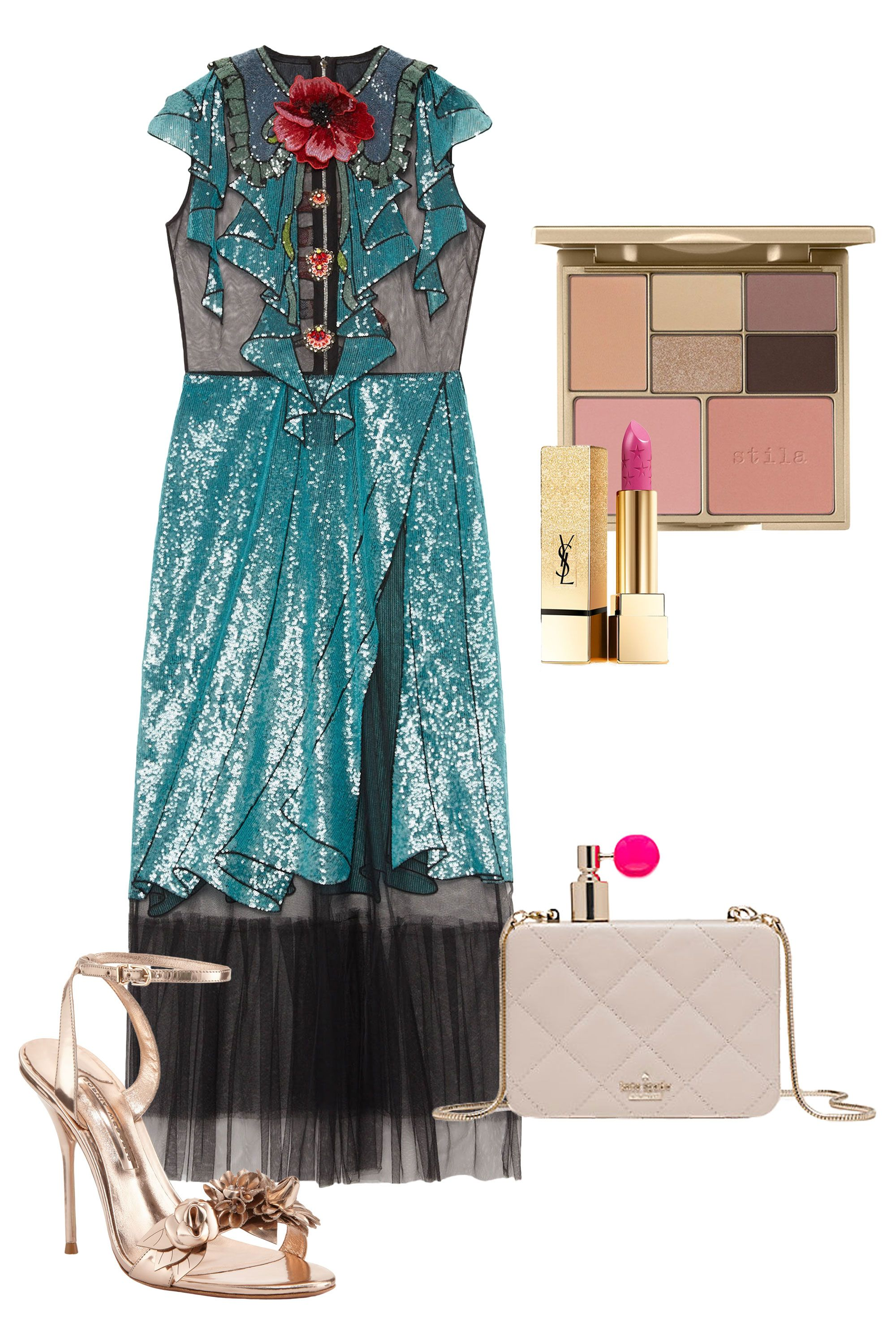"""<p>A little bit sparkly, a little bit sheer—catch the light in this sequin trompe l'oeil cocktail dress that's a throwback to the 1920s, flapper and party girl style. Perfect for a charity gala or autumnal wedding.<br></p><p><br> </p><p><em data-redactor-tag=""""em"""">Gucci Embroidered Tulle Dress, $7900, <a href=""""https://www.gucci.com/us/en/pr/women/womens-ready-to-wear/womens-dresses/embroidered-tulle-dress-p-421694ZGK161969?position=34&listName=ProductGridComponent&categoryPath=Women/Womens-Ready-to-Wear/Womens-Dresses"""" target=""""_blank"""">gucci.com</a>; Sophia Webster Lilico Floral Leather 105mm Sandal, $595, <a href=""""http://www.neimanmarcus.com/Sophia-Webster-Lilico-Floral-Leather-105mm-Sandal-Rose-Gold/prod186680022/p.prod?icid=&searchType=MAIN&rte=%2Fsearch.jsp%3Ffrom%3DbrSearch%26request_type%3Dsearch%26search_type%3Dkeyword%26q%3Drose+gold+shoes&eItemId=prod186680022&cmCat=search&tc=20&currentItemCount=1&q=rose+gold+shoes&searchURL=/search.jsp%3Ffrom%3DbrSearch%26start%3D0%26rows%3D120%26q%3Drose+gold+shoes%26l%3Drose+gold+shoes%26request_type%3Dsearch%26search_type%3Dkeyword"""" target=""""_blank"""">nemiamnarcus.com</a>; Stila Perfect Me, Perfect Hue Eye & Cheek Palette, $39, <a href=""""http://shop.nordstrom.com/s/hourglass-modernist-eyeshadow-palette/3982507?origin=category-personalizedsort"""" target=""""_blank"""">nordstrom.com</a>; Kate Spade On Pointe Perfume Clutch, $398, <a href=""""https://www.katespade.com/products/on-pointe-perfume-bottle-clutch/PXRU7073.html?cgid=ks-handbags-clutches&dwvar_PXRU7073_color=974#start=1&cgid=ks-handbags-clutches"""" target=""""_blank"""">katespade.com</a>; Yves Saint LaurentRouge Pur Couture Star Clash Lip Color, $37, </em><a href=""""http://shop.nordstrom.com/s/yves-saint-laurent-rouge-pur-couture-star-clash-lip-color-limited-edition/4430047"""" target=""""_blank""""><em data-redactor-tag=""""em"""">nordstrom.com</em></a></p>"""