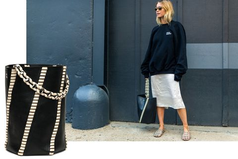 "<p>Pernille Teisbaek<span class=""redactor-invisible-space""> showed that the Proenza Schouler ""Hex"" bucket bag is the one to have and to hold. </span></p><p><span class=""redactor-invisible-space""><em data-verified=""redactor"" data-redactor-tag=""em"">Proenza Schouler ""Hex"" bag, $1,960, <strong data-redactor-tag=""strong"" data-verified=""redactor""><a href=""https://shop.harpersbazaar.com/p/proenza-schouler/large-hex-whipstitch-bucket-in-blackecru-10197.html"" target=""_blank"">shopBAZAAR.com</a></strong>. </em><br></span></p>"