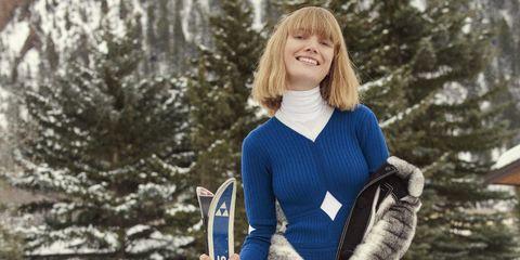 Sleeve, Winter, Textile, Sweater, Bangs, Street fashion, Electric blue, Woolen, Knitting, Wool,
