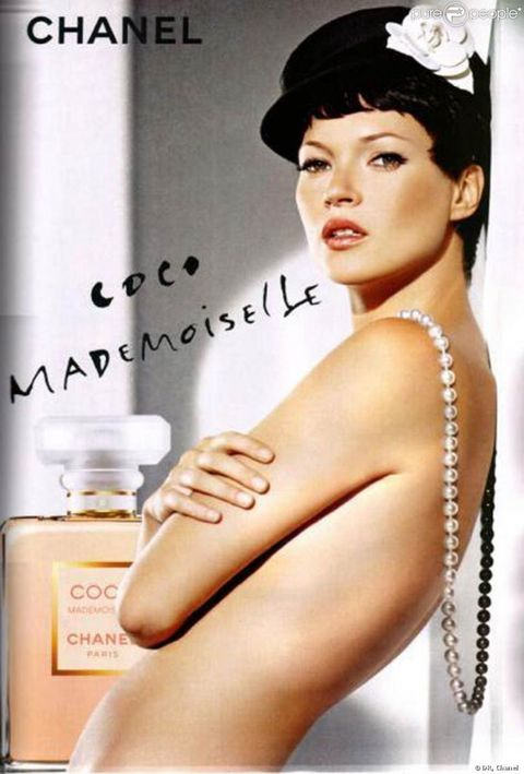 <p>The Coco Mademoiselle campaign sees Moss taking beauty cues directly from Coco Chanel herself— in a short black wig&nbsp;topped with Chanel's favorite flower, the camellia.&nbsp;</p>