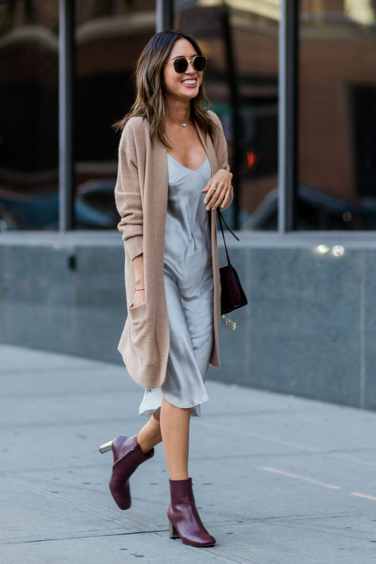 Simple Dress, Long Sweater, and Ankle Booties Pull This Look Together