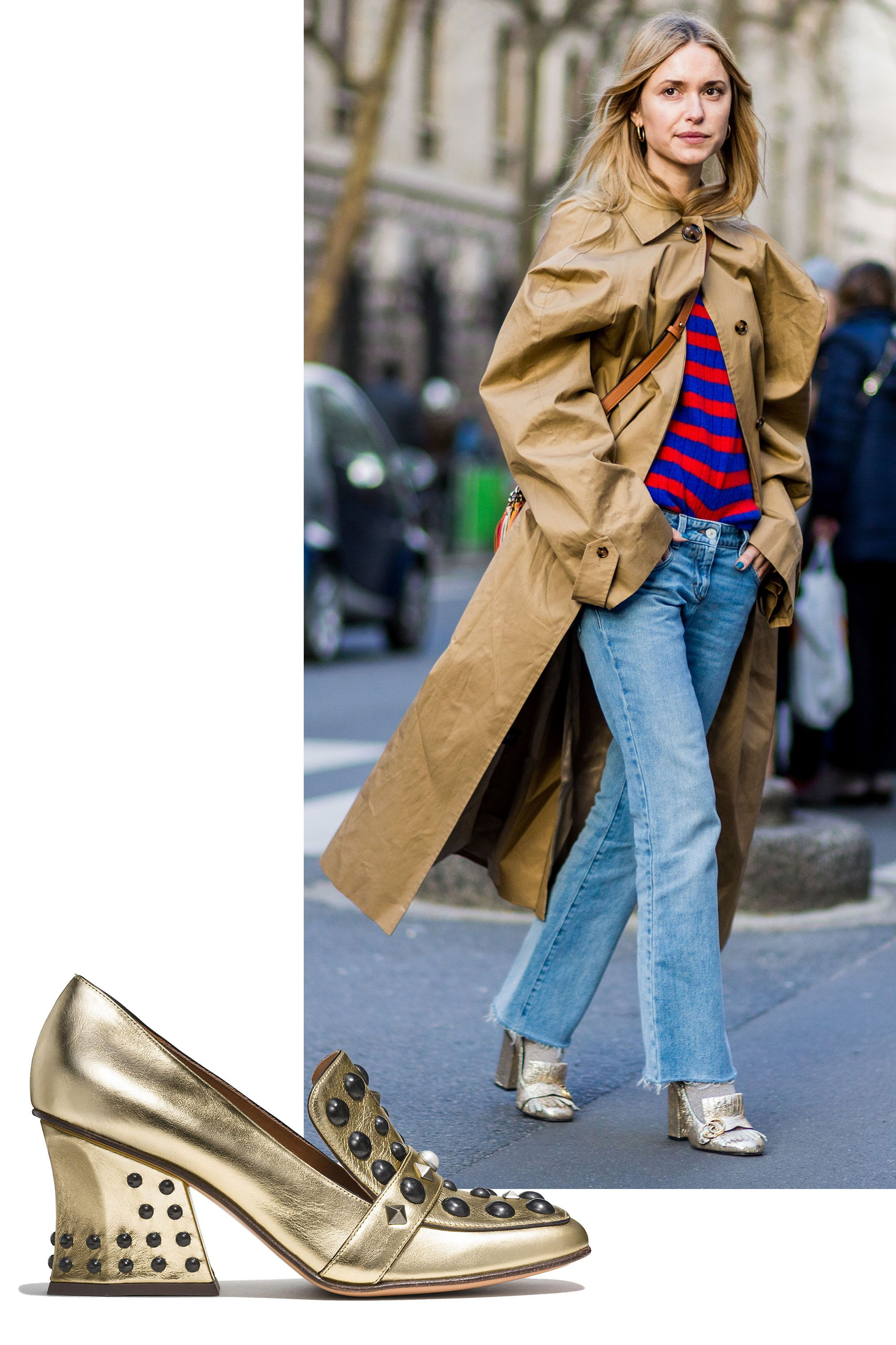 """<p>Wearing a metallic shoe in a blocky classic cut adds flair to any casual outfit—even sporty stripes and jeans! </p><p><br> </p><p><em data-redactor-tag=""""em"""">Coach 1941 High Vamp Loafer With Studs, $395, </em><a rel=""""noskim"""" href=""""http://www.coach.com/coach-designer-flats-high-vamp-loafer-with-studs/Q8916.html?CID=D_B_HBZ_11833"""" target=""""_blank""""><em data-redactor-tag=""""em"""">coach.com</em></a></p>"""