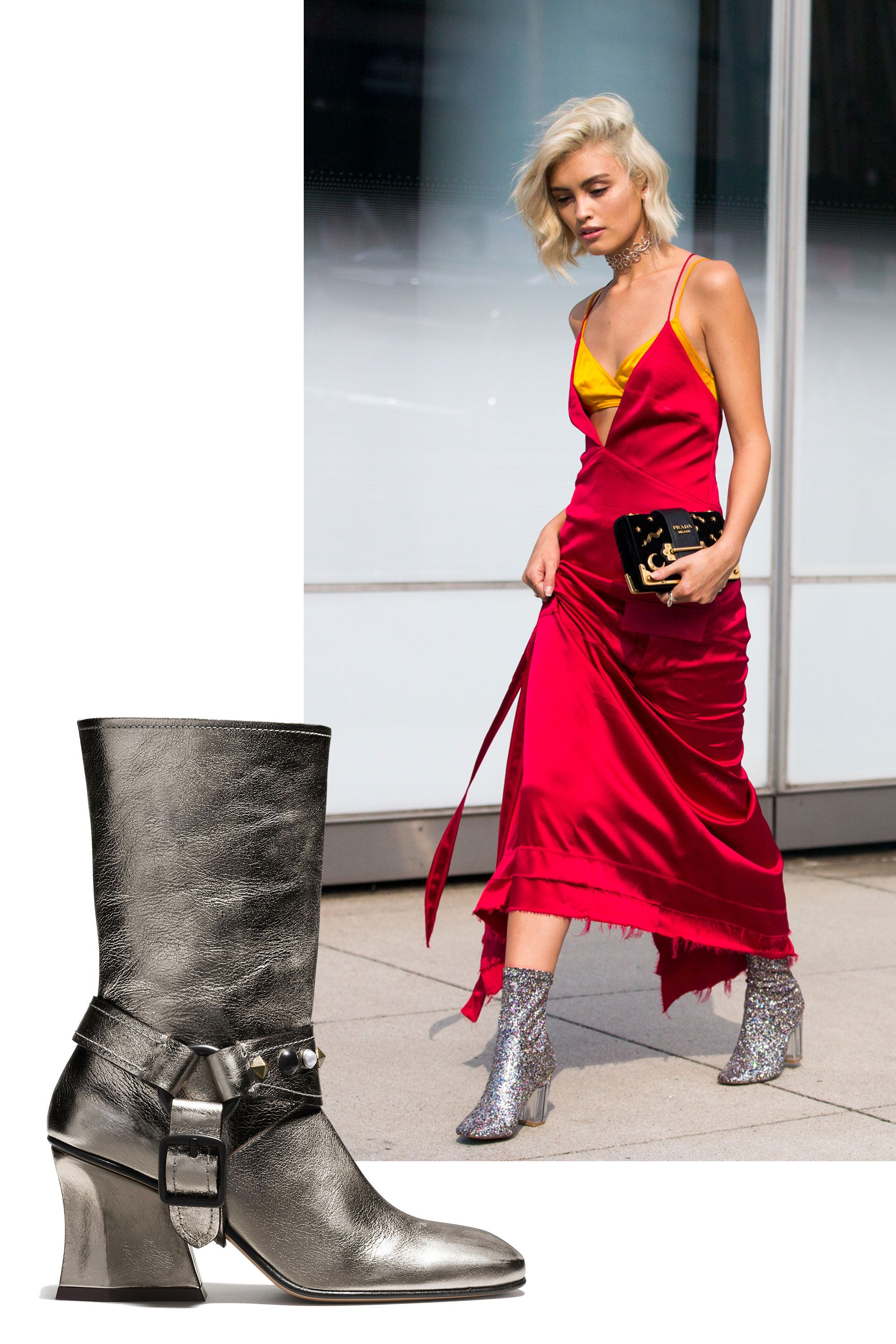 <p>Go for contrasting textures for that element of surprise—pairing an ethereal silk slip dress with silver metallic boots is the coolest '90s revival trend ever.