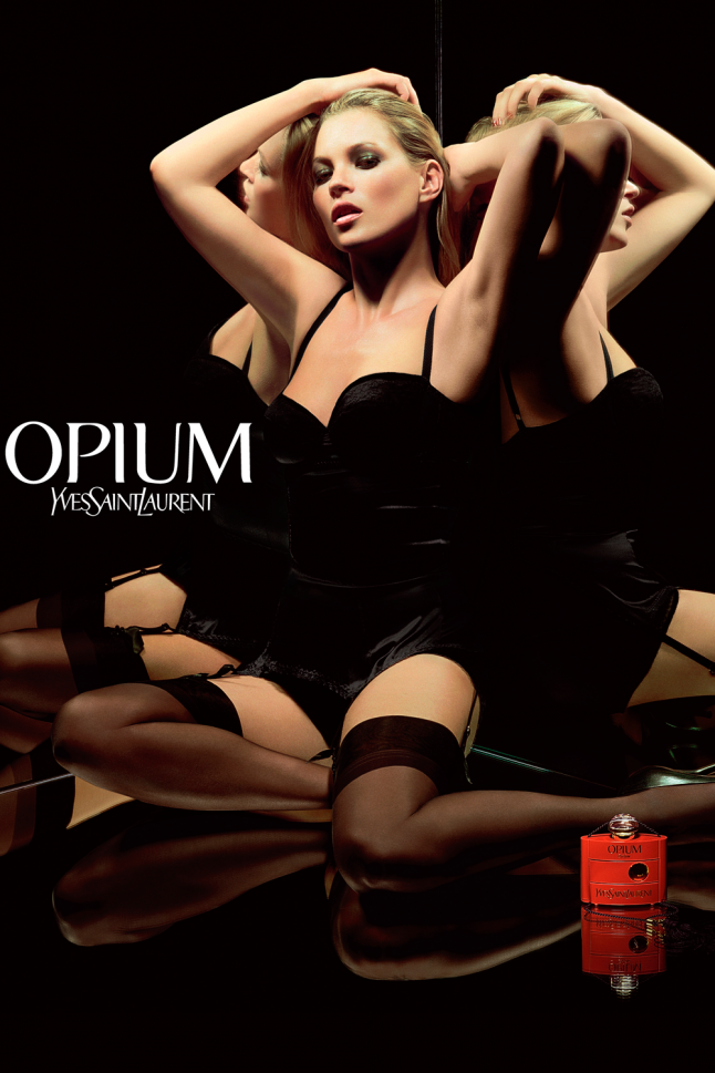 <p>YSL's Opium is one of the world's sexiest scents. So why not throw Kate Moss into some lingerie for the imagery? It certainly gets the message across.</p>