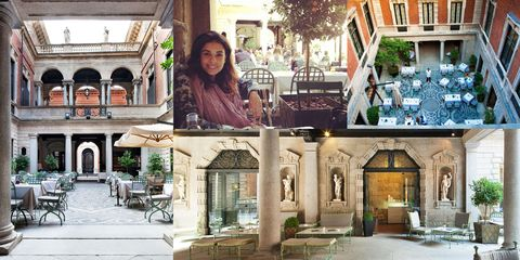 """<p>""""I love the courtyard at <a href=""""http://www.ilsalumaiodimontenapoleone.it/"""" target=""""_blank"""">Salumaio di&nbsp;Montenapoleone</a> for a Fall lunch. It feels like you're dining at a palace&nbsp;right in the center of town.""""</p>"""