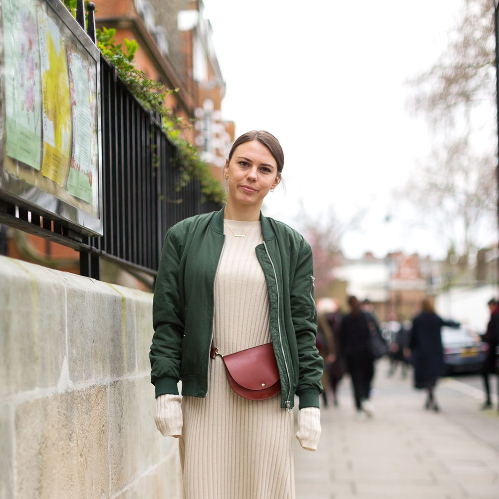<p>An army green bomber adds a cool, casual edge to a knit maxi dress—just add a&nbsp&#x3B;crossbody bag&nbsp&#x3B;and sneakers for the perfect off-duty outfit.&nbsp&#x3B;</p>