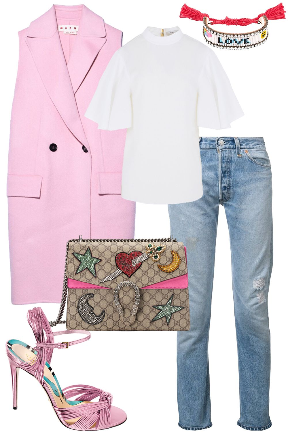 """<p>""""Pretty pastels were all over the New York runways for next season, so get a head-start on the trend by wearing this Gucci shoe with other candy-colored pieces.""""<span class=""""redactor-invisible-space"""" data-verified=""""redactor"""" data-redactor-tag=""""span"""" data-redactor-class=""""redactor-invisible-space"""">—<span class=""""redactor-invisible-space"""" data-redactor-tag=""""span"""" data-redactor-class=""""redactor-invisible-space"""" data-verified=""""redactor""""><strong data-redactor-tag=""""strong"""" data-verified=""""redactor"""">Joanna Hillman, Style Director, on her styling</strong></span><span class=""""redactor-invisible-space"""" data-verified=""""redactor"""" data-redactor-tag=""""span"""" data-redactor-class=""""redactor-invisible-space""""></span></span></p><p><span class=""""redactor-invisible-space"""" data-verified=""""redactor"""" data-redactor-tag=""""span"""" data-redactor-class=""""redactor-invisible-space""""><span class=""""redactor-invisible-space"""" data-redactor-tag=""""span"""" data-redactor-class=""""redactor-invisible-space"""" data-verified=""""redactor""""><strong data-redactor-tag=""""strong"""" data-verified=""""redactor""""><br></strong></span></span></p><p><span class=""""redactor-invisible-space"""" data-verified=""""redactor"""" data-redactor-tag=""""span"""" data-redactor-class=""""redactor-invisible-space""""><span class=""""redactor-invisible-space"""" data-verified=""""redactor"""" data-redactor-tag=""""span"""" data-redactor-class=""""redactor-invisible-space""""><em data-redactor-tag=""""em"""" data-verified=""""redactor""""><strong data-redactor-tag=""""strong"""" data-verified=""""redactor"""">Gucci</strong>sandal, $795,<strong data-redactor-tag=""""strong"""" data-verified=""""redactor""""><a href=""""https://shop.harpersbazaar.com/g/gucci/allies-high-sandal-9825.html"""" target=""""_blank"""">shopBAZAAR.com</a></strong>;</em><span class=""""redactor-invisible-space"""" data-verified=""""redactor"""" data-redactor-tag=""""span"""" data-redactor-class=""""redactor-invisible-space""""><em data-redactor-tag=""""em"""" data-verified=""""redactor""""> <strong data-redactor-tag=""""strong"""" data-verified=""""redactor"""">Marni</strong> waistcoat, $2,250, <strong data-redactor-tag=""""strong"""" da"""