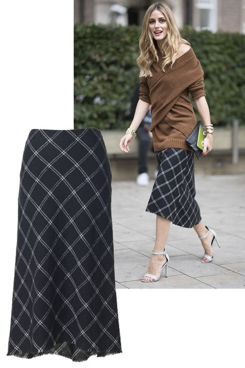 "<p>Olivia Palermo gave a girly take on grunge, and we're taking notes.&nbsp;</p><p><em data-verified=""redactor"" data-redactor-tag=""em"">Tibi skirt, $495, <strong data-redactor-tag=""strong"" data-verified=""redactor""><a href=""https://shop.harpersbazaar.com/designers/t/tibi/salome-plaid-bias-dress-9513.html"" target=""_blank"">shopBAZAAR.com</a></strong> (similar style).&nbsp;</em></p>"