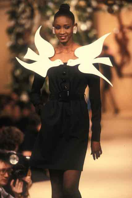 "<p>Short evening dress worn by Sadiya, Homage to Georges Braque, Spring/Summer 1988 haute couture collection<span id=""selection-marker-1"" class=""redactor-selection-marker"" data-verified=""redactor""></span></p>"