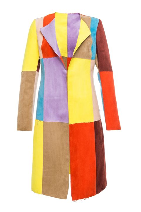 "<p><strong data-redactor-tag=""strong"" data-verified=""redactor"">Front Row Shop</strong> Suedette Multi-colore Trench Coat, $83, <a href=""http://www.frontrowshop.com/product/frs-suedette-colorful-block-collarless-trench-coat"" target=""_blank"">frontrowshop.com</a>.</p>"