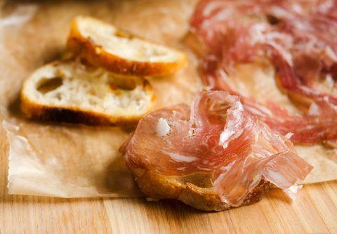 Wood, Food, Hardwood, Bread, Peach, Meat, Cuisine, Dish, Pork, Finger food,